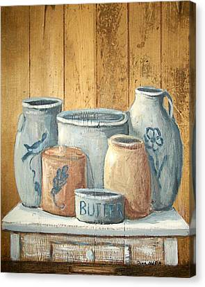 Aged Stoneware Canvas Print by Dona Maria Brown