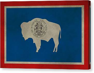 Aged Wyoming State Flag Canvas Print by Dan Sproul