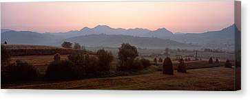 Agricultural Field With A Mountain Canvas Print by Panoramic Images