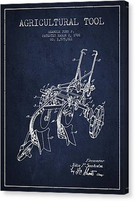 Agricultural Tool Patent From 1926 - Navy Blue Canvas Print by Aged Pixel