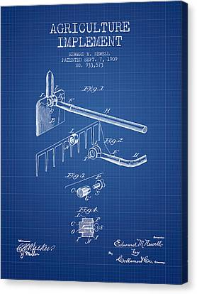 Agriculture Implement Patent From 1909 - Blueprint Canvas Print by Aged Pixel