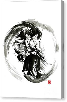 Aikido Techniques Martial Arts Sumi-e Black White Round Circle Design Yin Yang Ink Painting Watercol Canvas Print by Mariusz Szmerdt