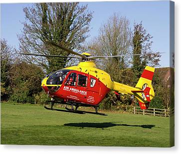 Air Ambulance Helicopter Canvas Print by Sheila Terry