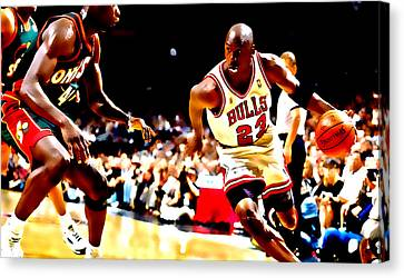 Air Jordan And Shawn Kemp Canvas Print by Brian Reaves