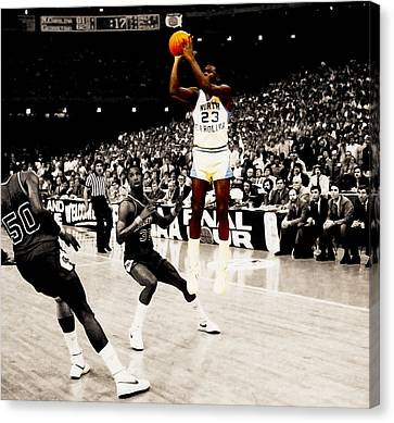 Air Jordan Unc Last Shot Canvas Print by Brian Reaves