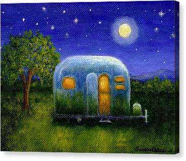 Airstream Camper Under The Stars Canvas Print by Sandra Estes