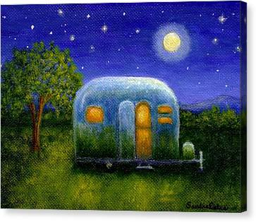 Airstream Camper Under The Stars Canvas Print by Sandra Estes
