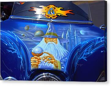 Airbrush Magic - Wizard Merlin On A Motorcycle Canvas Print by Christine Till