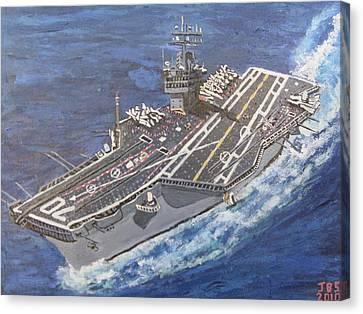 Aircraft Carrier Cvn-70 Carl Vinson Canvas Print by Jose Bernal