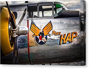 Aircraft Nose Art - Pinup Girl - Miss Hap Canvas Print by Gary Heller