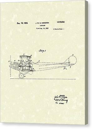 Airplane 1924 Patent Art  Canvas Print by Prior Art Design