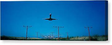 Airplane Landing Philadelphia Canvas Print by Panoramic Images