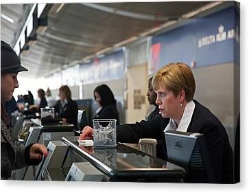 Airport Check-in Desk Canvas Print by Jim West