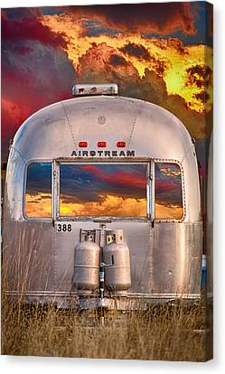 Airstream Travel Trailer Camping Sunset Window View Canvas Print by James BO  Insogna
