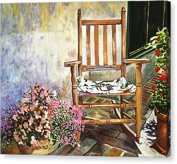 Aix Country Patio Canvas Print by David Lloyd Glover
