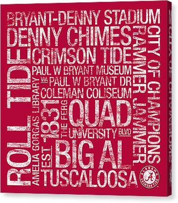 Alabama College Colors Subway Art Canvas Print by Replay Photos