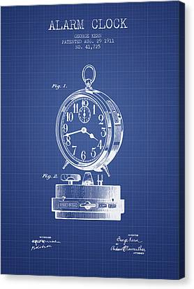 Alarm Clock Patent From 1911 - Blueprint Canvas Print by Aged Pixel