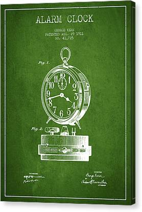 Alarm Clock Patent From 1911 - Green Canvas Print by Aged Pixel