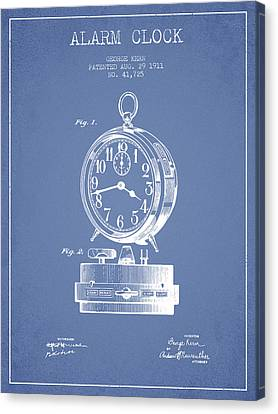 Alarm Clock Patent From 1911 - Light Blue Canvas Print by Aged Pixel