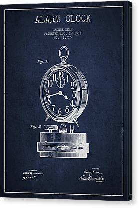 Alarm Clock Patent From 1911 - Navy Blue Canvas Print by Aged Pixel