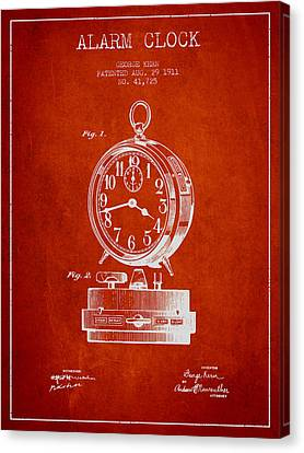Alarm Clock Patent From 1911 - Red Canvas Print by Aged Pixel