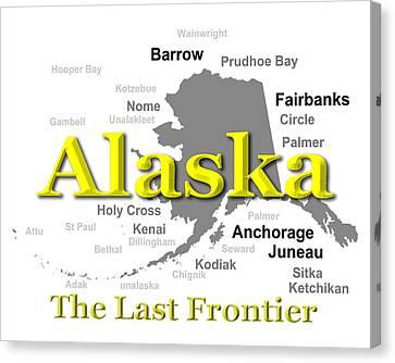Alaska State Pride Map Silhouette  Canvas Print by Keith Webber Jr