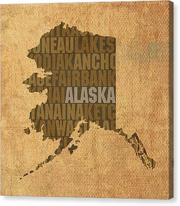 Alaska Word Art State Map On Canvas Canvas Print by Design Turnpike