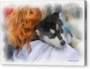Alaskan Malamute Puppy Photo Art Canvas Print by Thomas Woolworth