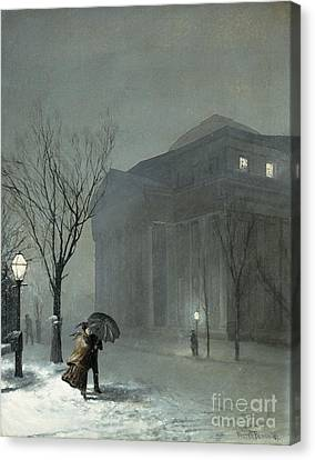 Albany In The Snow Canvas Print by Walter Launt Palmer