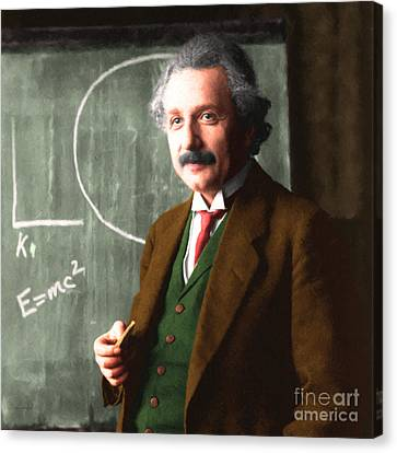 Albert Einstein 20140910 Square Canvas Print by Wingsdomain Art and Photography