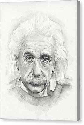 Albert Einstein Portrait Canvas Print by Olga Shvartsur