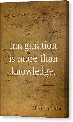 Albert Einstein Quote Imagination Science Math Inspirational Words On Worn Canvas With Formula Canvas Print by Design Turnpike
