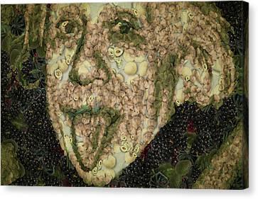 Albert Einstein Sticking His Tongue Vegetables Art Canvas Print by Eti Reid