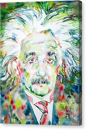 Albert Einstein Watercolor Portrait.1 Canvas Print by Fabrizio Cassetta