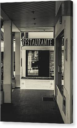 Albufeira Street Series - Restaurante Canvas Print by Marco Oliveira