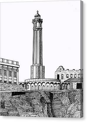 Alcatraz Island Lighthouse Canvas Print by Frederic Kohli