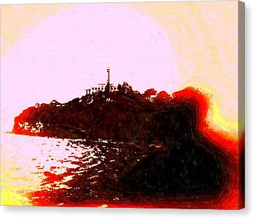Alcatraz Island Vintage Canvas Print by Daniel Janda