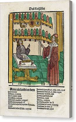 Alchemist With His Student Canvas Print by National Library Of Medicine
