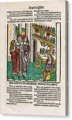 Alchemist With His Students Canvas Print by National Library Of Medicine