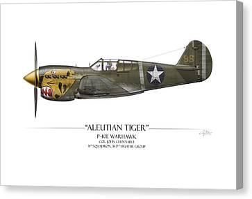 Aleutian Tiger P-40 Warhawk - White Background Canvas Print by Craig Tinder