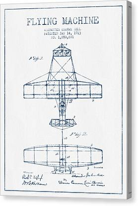 Alexander Graham Bell Flying Machine Patent From 1913 - Blue Ink Canvas Print by Aged Pixel