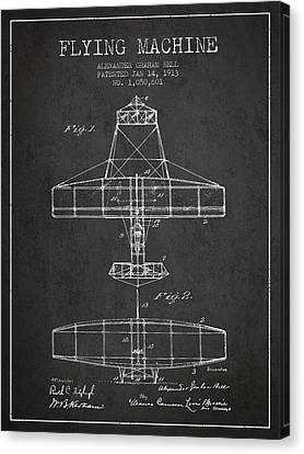 Alexander Graham Bell Flying Machine Patent From 1913 - Dark Canvas Print by Aged Pixel