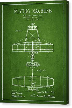 Alexander Graham Bell Flying Machine Patent From 1913 - Green Canvas Print by Aged Pixel