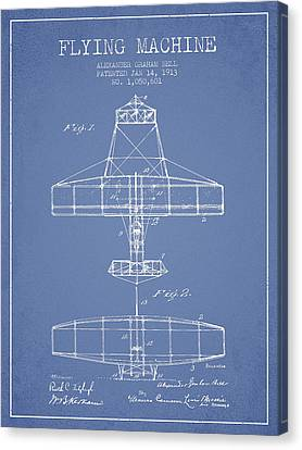 Alexander Graham Bell Flying Machine Patent From 1913 - Light Bl Canvas Print by Aged Pixel