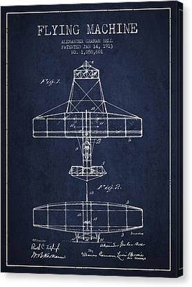 Alexander Graham Bell Flying Machine Patent From 1913 - Navy Blu Canvas Print by Aged Pixel