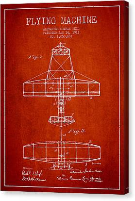 Alexander Graham Bell Flying Machine Patent From 1913 - Red Canvas Print by Aged Pixel