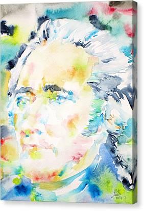 Alexander Hamilton - Watercolor Portrait Canvas Print by Fabrizio Cassetta