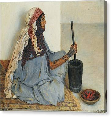 Alia Sitting And Grinding Vegetables Canvas Print by Alexandre Roubtzoff