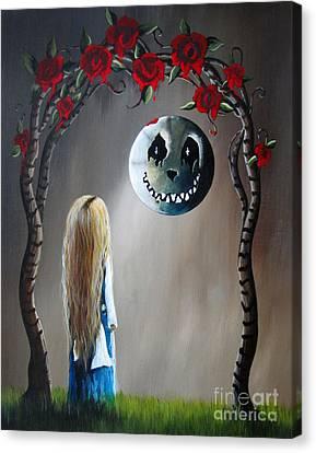Alice In Wonderland Original Artwork - Alice And The Beautiful Nightmare Canvas Print by Shawna Erback