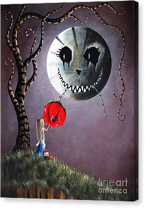 Alice In Wonderland Original Artwork - Alice And The Dripping Rose Canvas Print by Shawna Erback